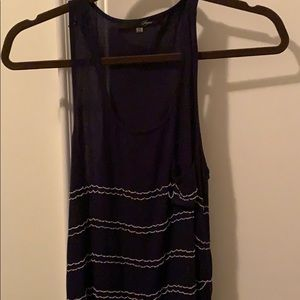 Tops - Navy Tanktop with cool white metal chain!!